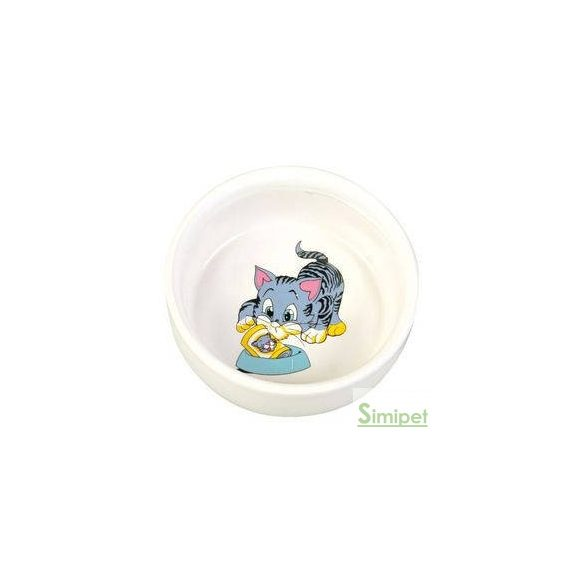 Trixie Ceramic Bowl - kerámia tál (fehér, mintás) macskák részére (0,3l /Ø11cm)