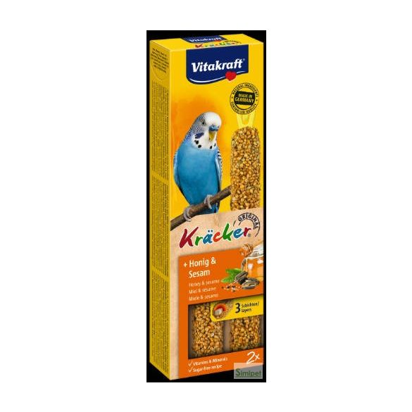 Vitakraft Kracker Dupla Rúd (méz,szezámmag) – kiegészítő eleség Hullámos papagáj részére (60g)