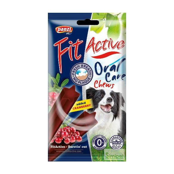 FitActive Dental Care Chews (vörösáfonya) jutalomfalt kutyák részére (85g)