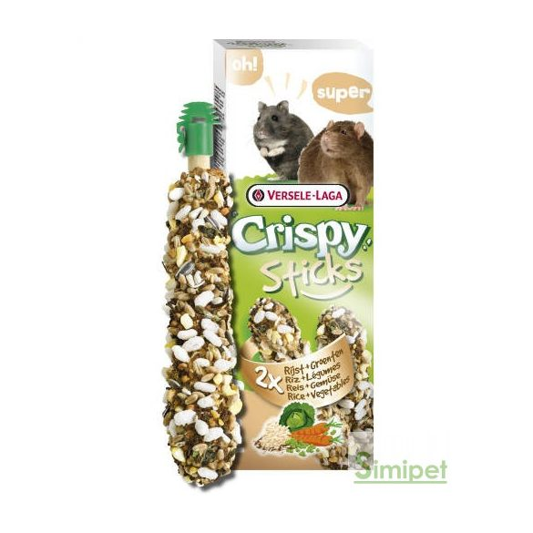Versele-Laga Crispy Sticks Hamster, Rats Dupla rúd (rizs,zöldség) - kiegészítő eleség hörcsögök és nyulak részére (110g)