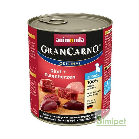 Animonda GranCarno Junior (marha,pulykaszív) konzerv - Kölyök kutyák részére (800g)